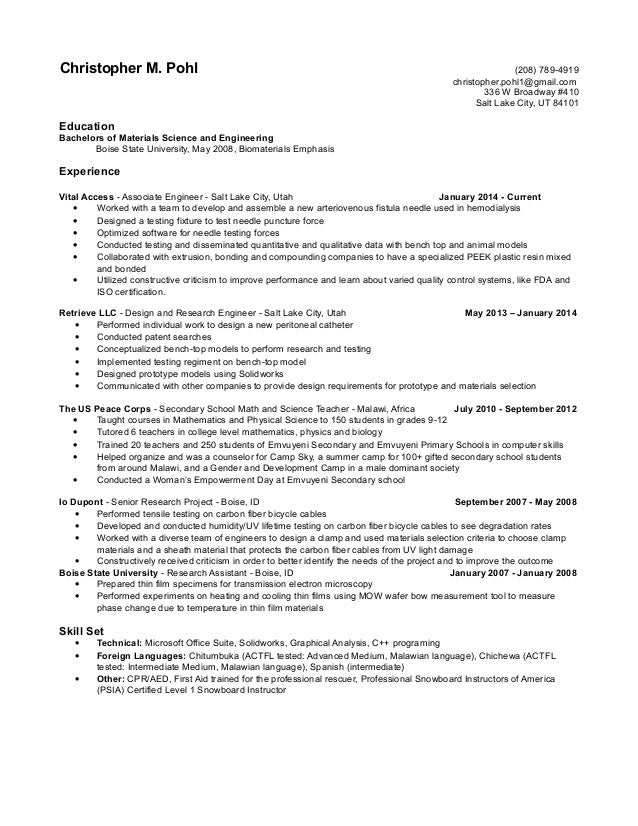 resume no objective christopher m pohl 208 789 4919 christopherpohl1gmail - What Is Objective On A Resume