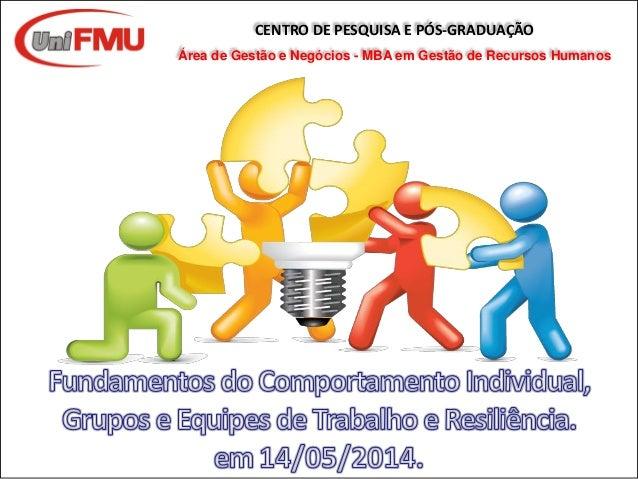 CENTRO DE PESQUISA E PÓS-GRADUAÇÃO Área de Gestão e Negócios - MBA em Gestão de Recursos Humanos