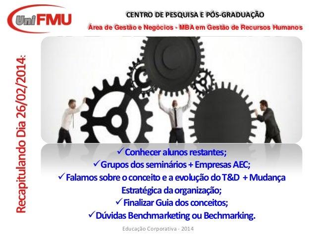 CENTRO DE PESQUISA E PÓS-GRADUAÇÃO Área de Gestão e Negócios - MBA em Gestão de Recursos Humanos Educação Corporativa - 20...