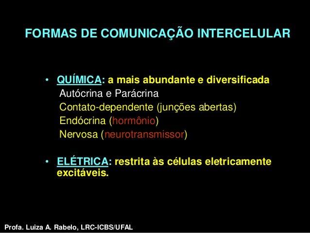 FORMAS DE COMUNICAÇÃO INTERCELULAR           • QUÍMICA: a mais abundante e diversificada             Autócrina e Parácrina...