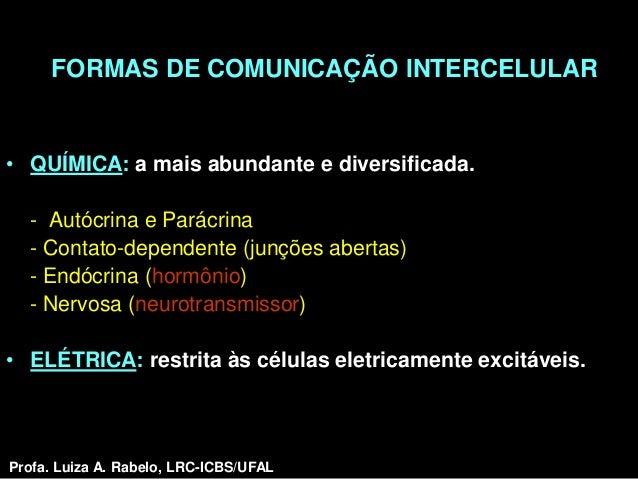 FORMAS DE COMUNICAÇÃO INTERCELULAR• QUÍMICA: a mais abundante e diversificada.  - Autócrina e Parácrina  - Contato-depende...