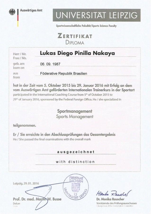 Universitat Leipzig - Sportmanagement Zertifikat