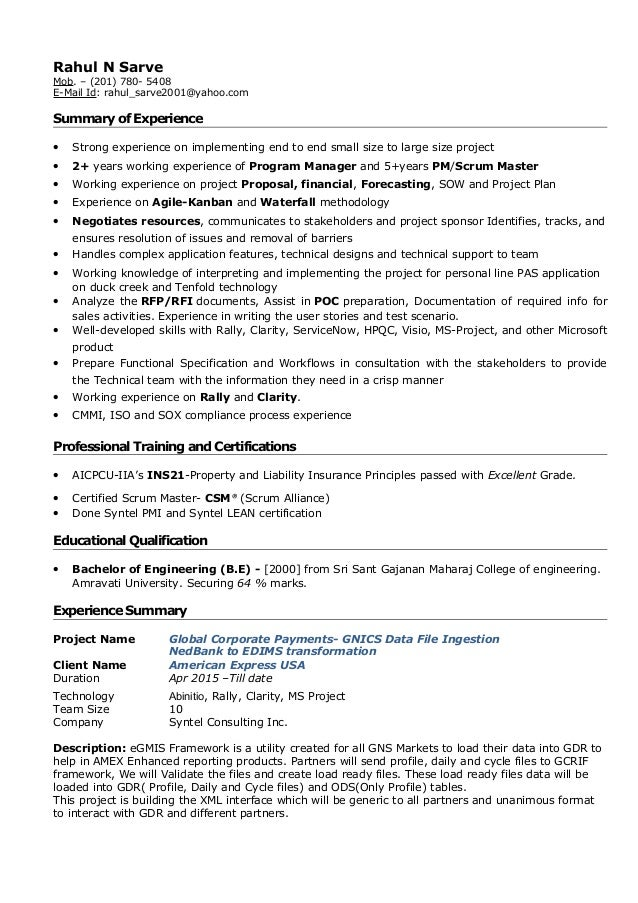 project manager resume india it project manager sample resume