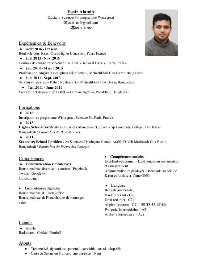 cv sciencespo easir alamin french
