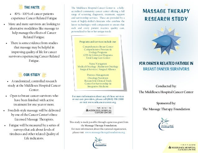 Massage Therapy Research study For cancer related fatigue in breast cancer survivors Conducted by: The Middlesex Hospital ...