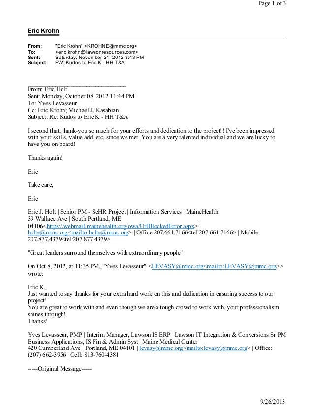 Maine Medical Center - Thank you emails from IT Manager and PM