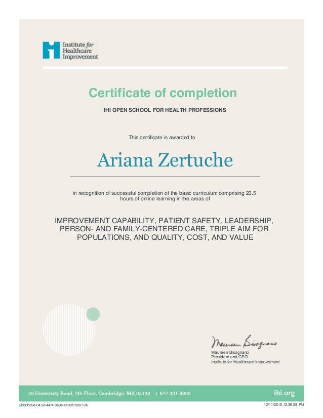 Ihi Certificate 1 Ihi Open School Basic Certific