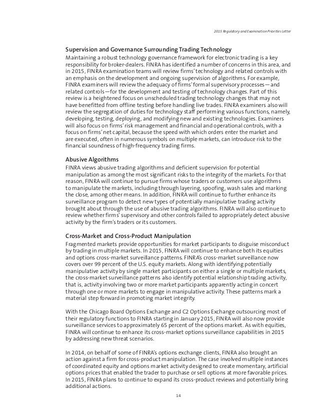 FINRA 2015 Regulatory and Examination priorities