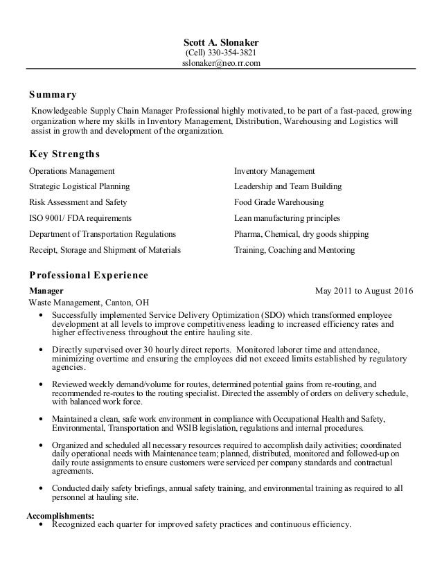 Distribution logistics manager resume