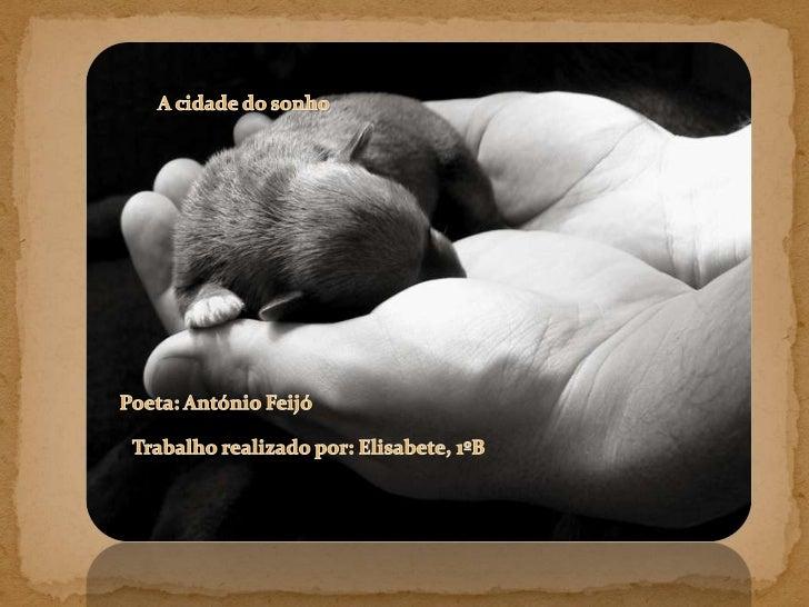 A cidade do sonho <br />Poeta: António Feijó<br />Trabalho realizado por: Elisabete, 1ºB<br />