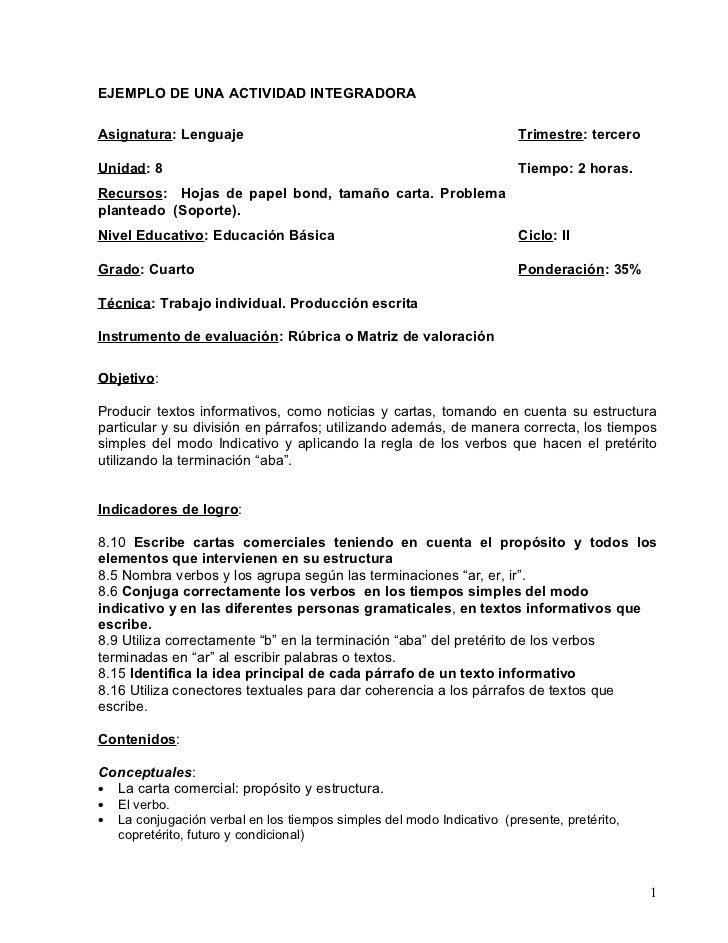 EJEMPLO DE UNA ACTIVIDAD INTEGRADORAAsignatura: Lenguaje                                                    Trimestre: ter...