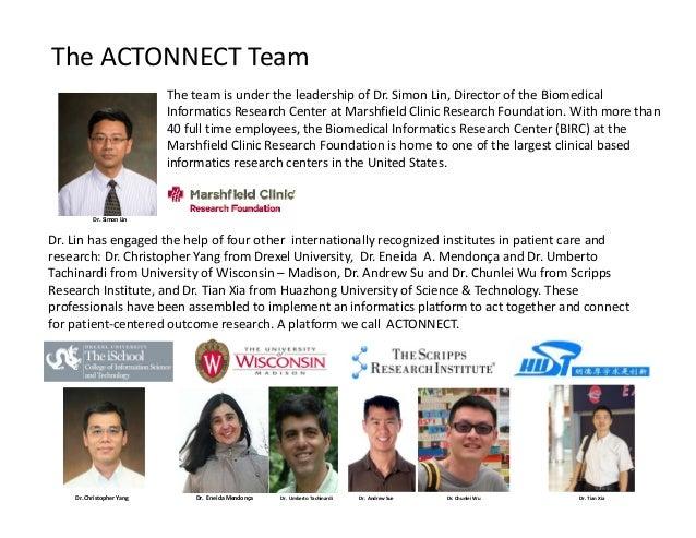 TheACTONNECTTeam TheteamisundertheleadershipofDr.SimonLin,DirectoroftheBiomedical InformaticsResearchCen...