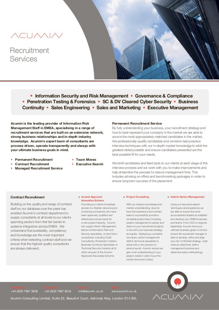 RecruitmentServices               • Information Security and Risk Management • Governance & Compliance        • Penetratio...