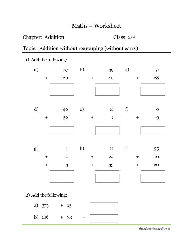 Maths Addition Worksheet Cbse Grade Ii
