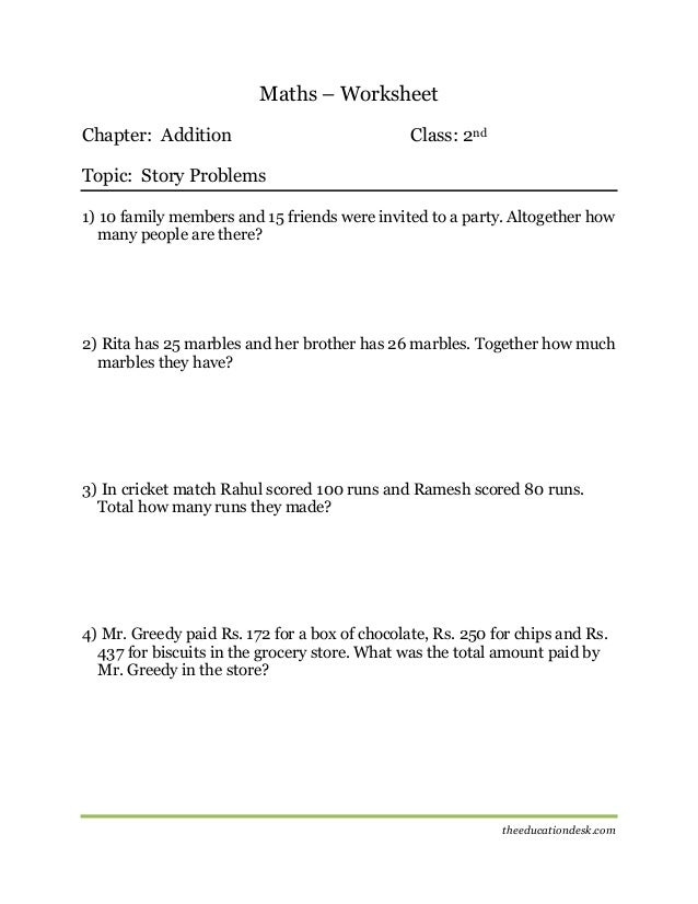 Maths: Addition Worksheet (CBSE Grade II)