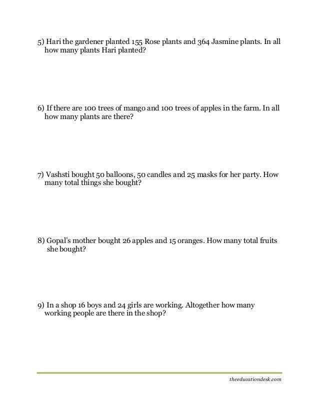 Maths Addition Worksheet CBSE Grade II – 100 Problem Addition Worksheets