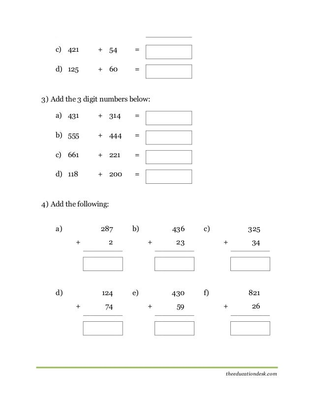 Maths Addition Worksheet CBSE Grade II – Addition Worksheet Grade 2