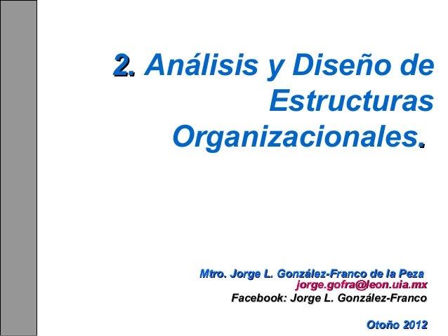 2. Análisis y Diseño de Estructuras Organizacionales.  Mtro. Jorge L. González-Franco de la Peza jorge.gofra@leon.uia.mx F...