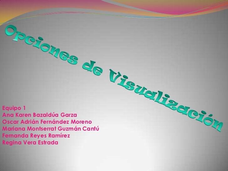 Equipo 1Ana Karen Bazaldúa GarzaOscar Adrián Fernández MorenoMariana Montserrat Guzmán CantúFernanda Reyes RamírezRegina V...