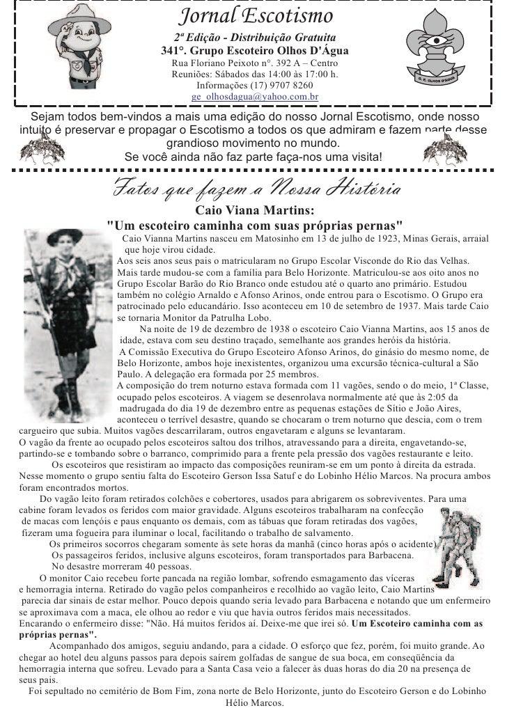 Jornal Escotismo                                     2ª Edição - Distribuição Gratuita                                   3...