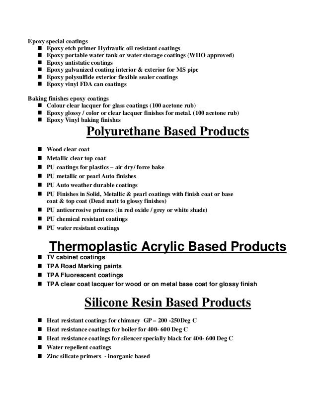02 Classification Of Paints Amp Coatings Products
