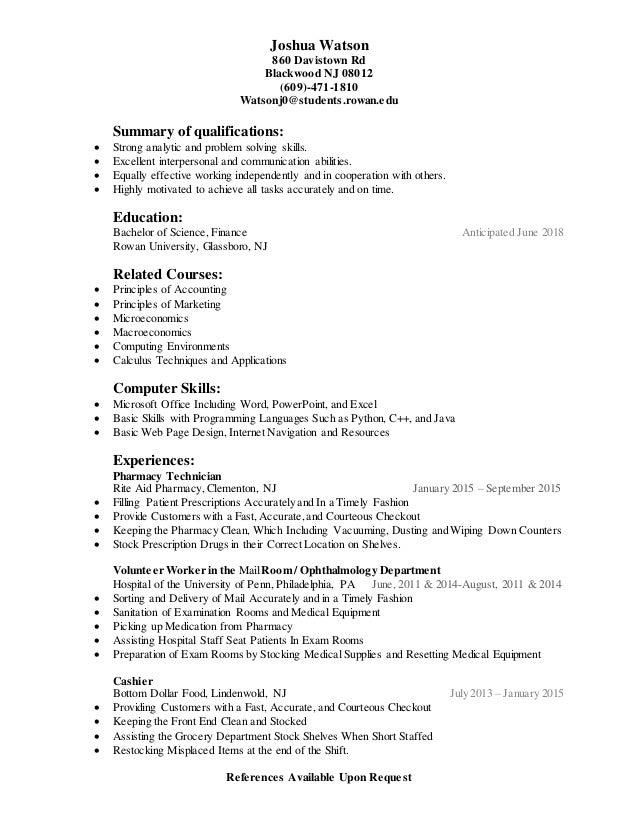 Joshua Watson rowan resume
