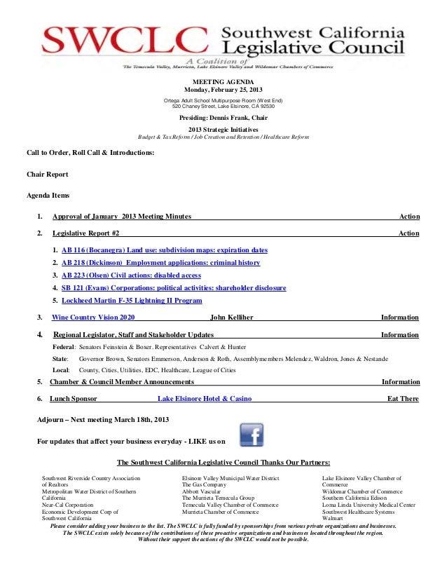 MEETING AGENDA                                                              Monday, February 25, 2013                     ...