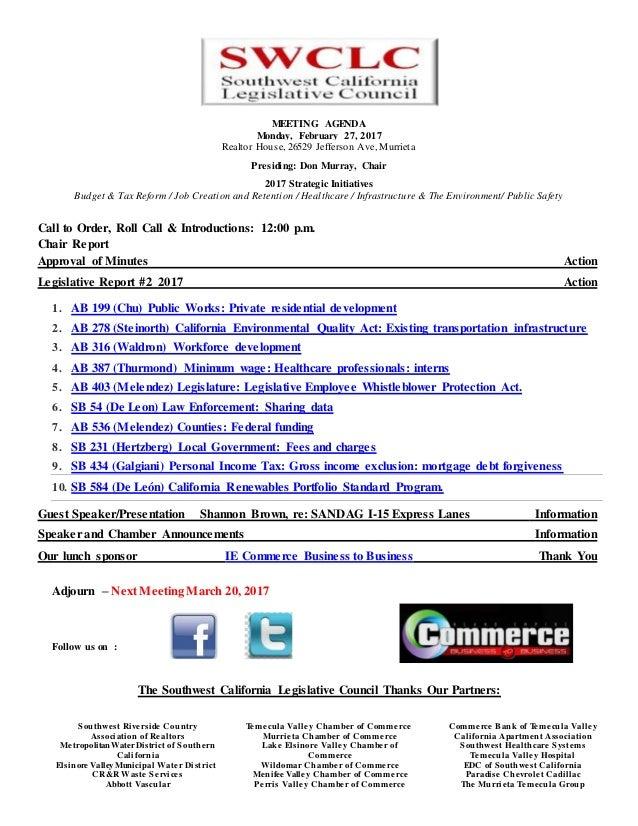 Southwest California Legislative Coouncil February Agenda
