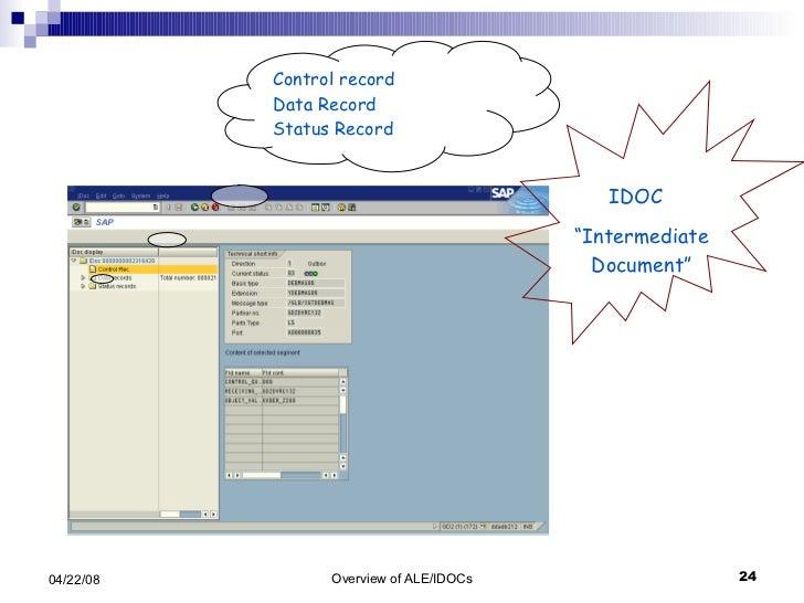 """Control record Data Record Status Record IDOC  """" Intermediate Document"""""""