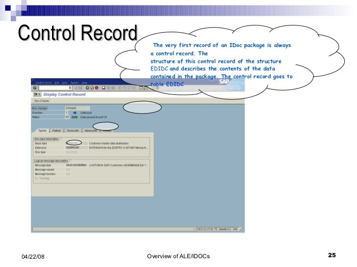 Control Record The very first record of an IDoc package is always a control record. The structure of this control record o...