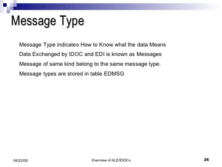 Message Type Message Type indicates How to Know what the data Means Data Exchanged by IDOC and EDI is known as Messages Me...