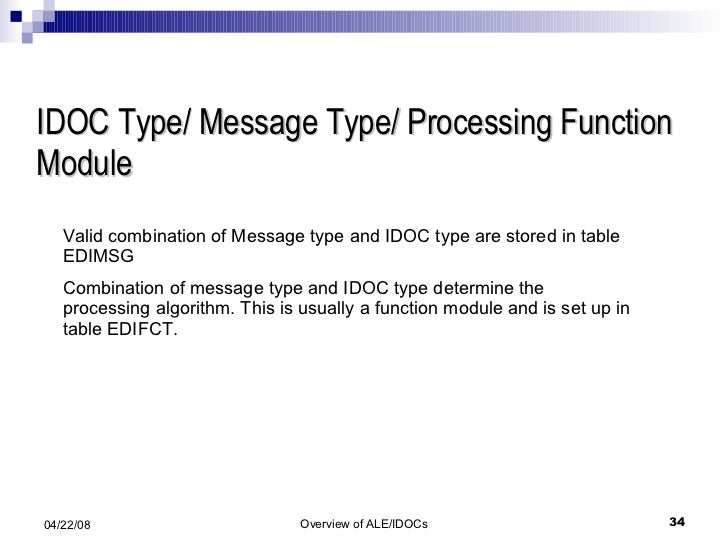 IDOC Type/ Message Type/ Processing Function Module Valid combination of Message type and IDOC type are stored in table ED...