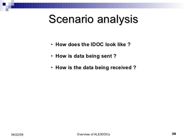 Scenario analysis <ul><li>How does the IDOC look like ? </li></ul><ul><li>How is data being sent ? </li></ul><ul><li>How i...
