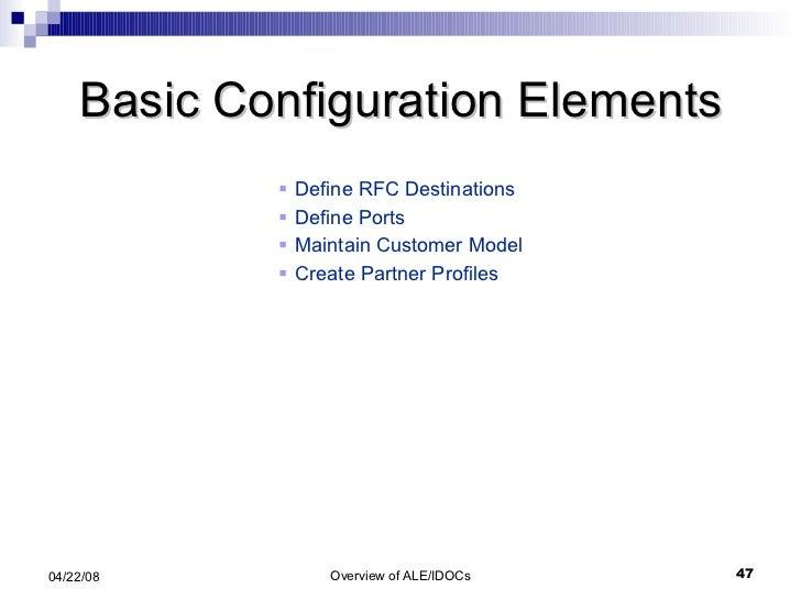 Basic Configuration Elements <ul><li>Define RFC Destinations </li></ul><ul><li>Define Ports </li></ul><ul><li>Maintain Cus...