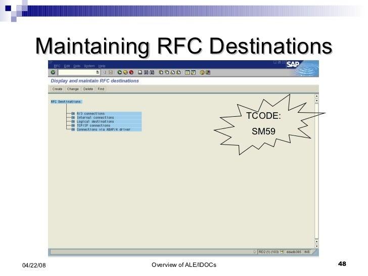 Maintaining RFC Destinations TCODE: SM59