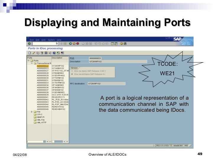 Displaying and Maintaining Ports A port is a logical representation of a communication channel in SAP with the data commun...
