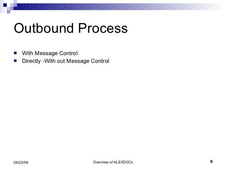 Outbound Process <ul><li>With Message Control </li></ul><ul><li>Directly -With out Message Control </li></ul>
