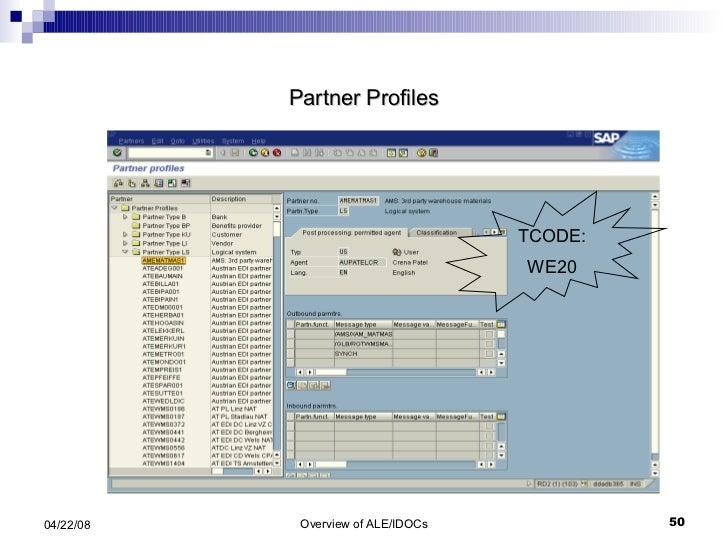 Partner Profiles TCODE: WE20