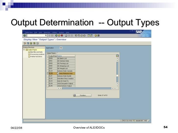 Output Determination  -- Output Types
