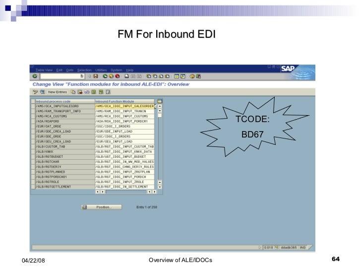 FM For Inbound EDI  TCODE: BD67