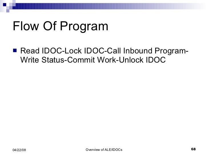 Flow Of Program <ul><li>Read IDOC-Lock IDOC-Call Inbound Program-Write Status-Commit Work-Unlock IDOC </li></ul>