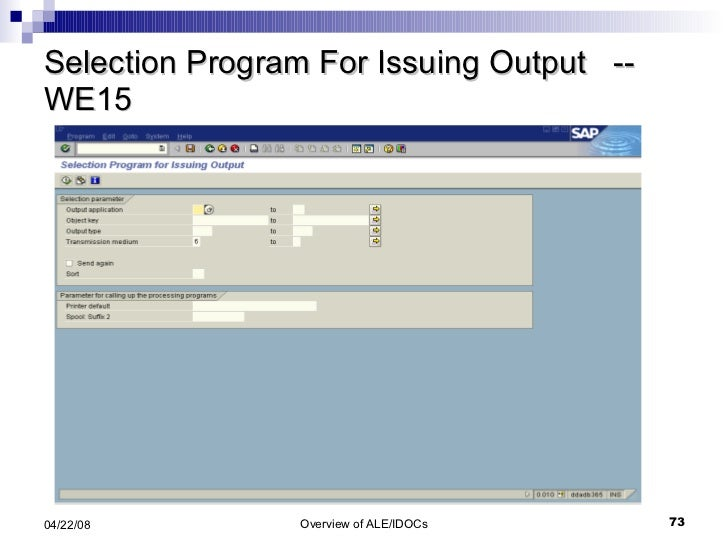 Selection Program For Issuing Output  -- WE15