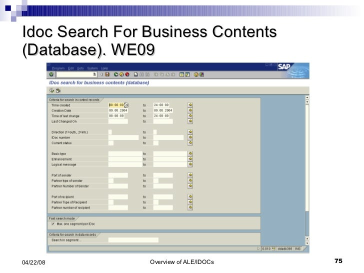 Idoc Search For Business Contents (Database). WE09