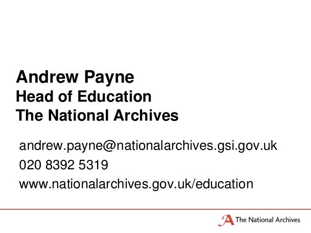 Andrew Payne, National Archieves