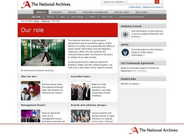 The National Archives is… Essential/Boring?• Government Department• Executive Agency• Ministry of Justice• Office of Publi...