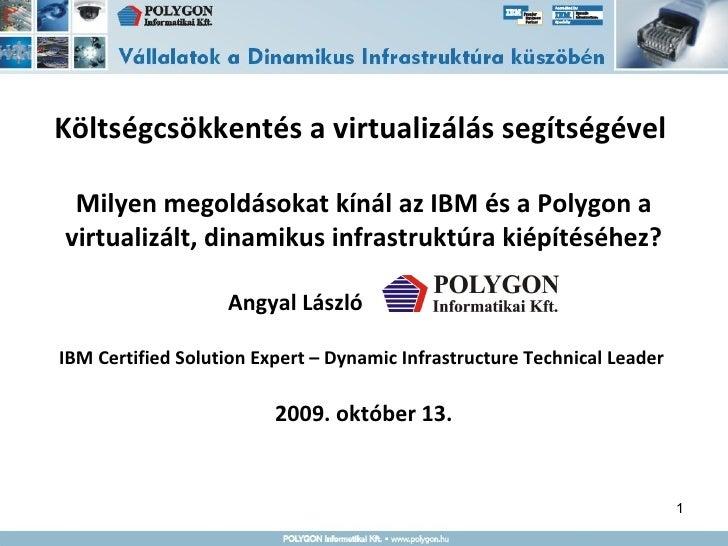 Költségcsökkentés a virtualizálás segítségével  Milyen megoldásokat kínál az IBM és a Polygon a virtualizált, dinamikus in...