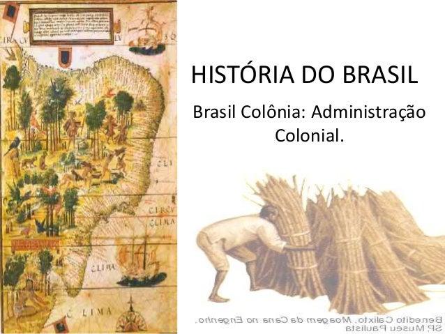 HISTÓRIA DO BRASILBrasil Colônia: Administração           Colonial.