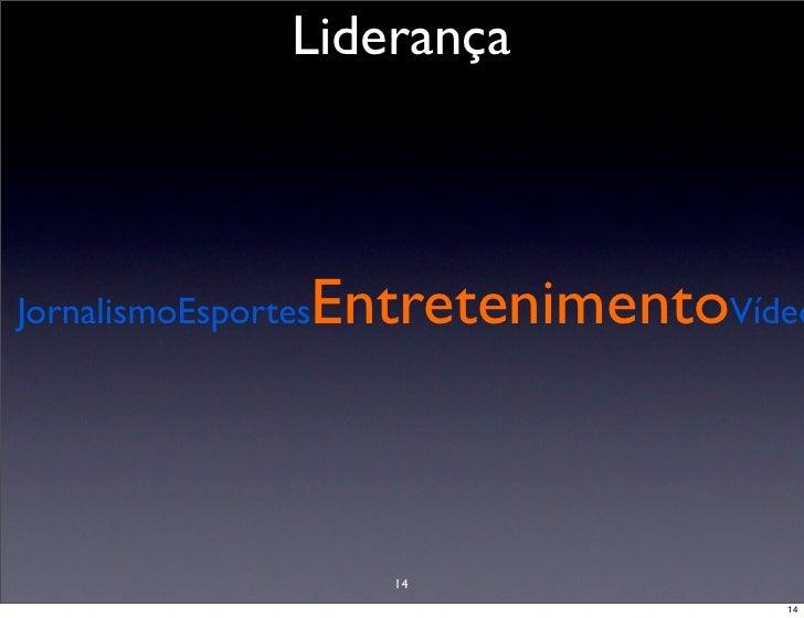 Liderança                     EntretenimentoVídeo JornalismoEsportes                          14                          ...
