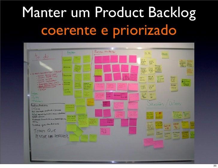 Manter um Product Backlog   coerente e priorizado                 30                             30