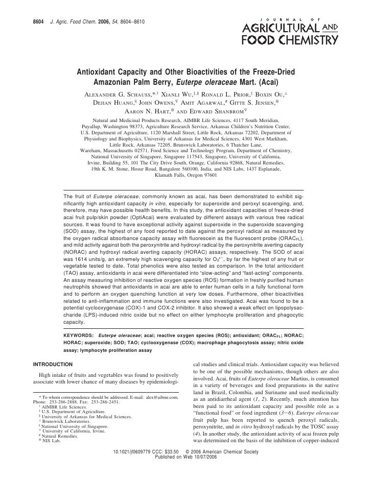 8604    J. Agric. Food Chem. 2006, 54, 8604−8610                     Antioxidant Capacity and Other Bioactivities of the F...